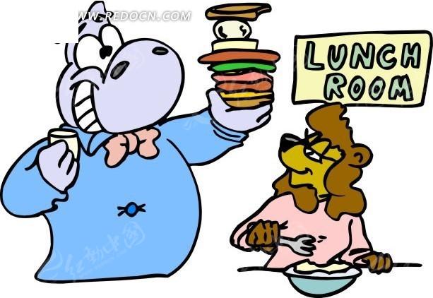 卡通画吃东西的动物