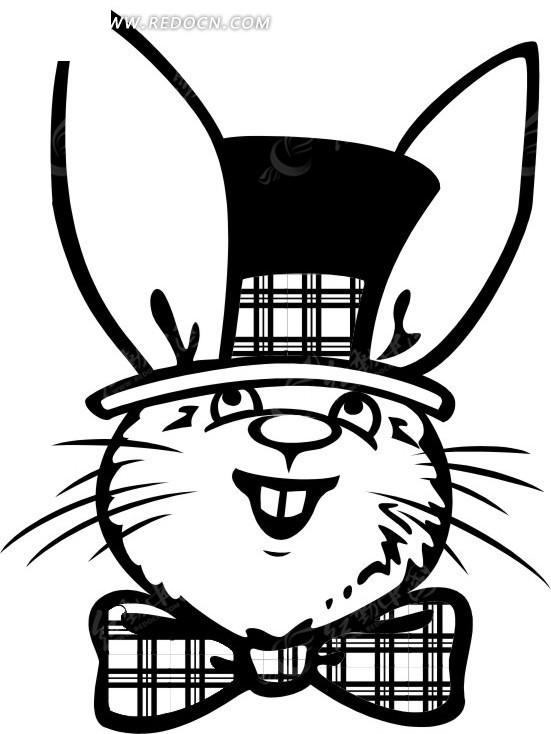 手绘打蝴蝶结的小兔子 陆地动物 红动手机版