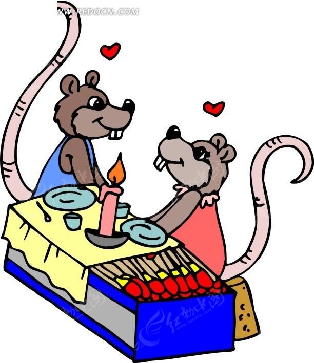 卡通画吃烛光晚餐的老鼠