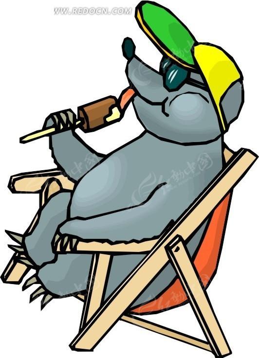手绘坐在椅子上吃冰棍的土拨鼠-陆地动物矢量图下载