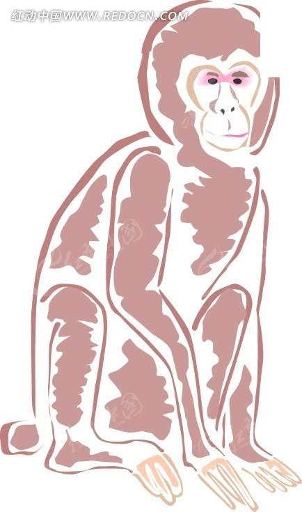 简笔画蹲着的猴子其他素材免费下载 编号1698465 红动网