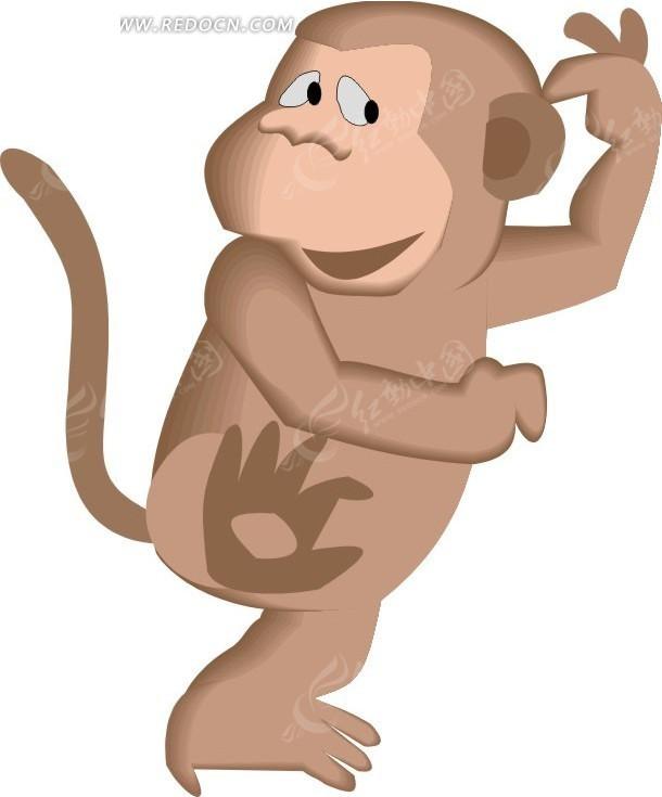 挠头的猴子 猴子 卡通画 插画 手绘 矢量素材 动物图片 卡通形象 动物
