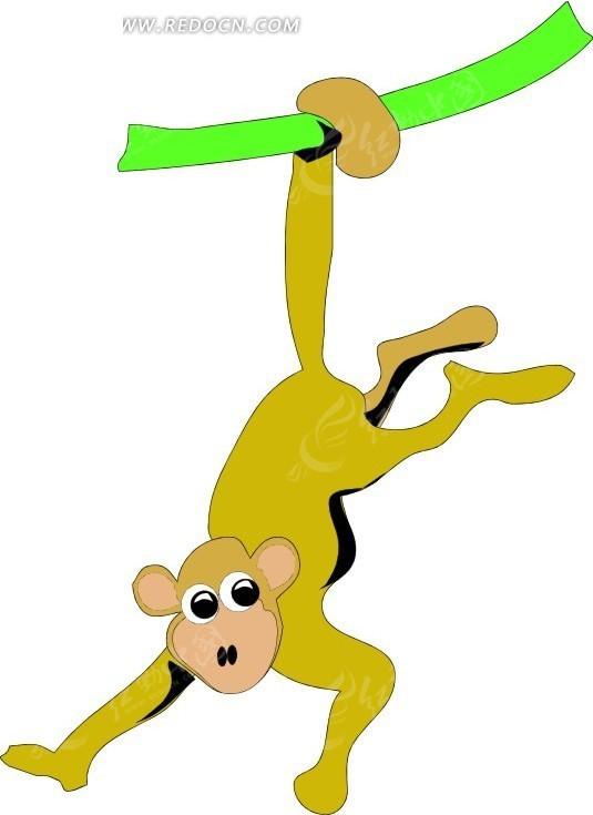 手绘倒挂在树上的黄色猴子