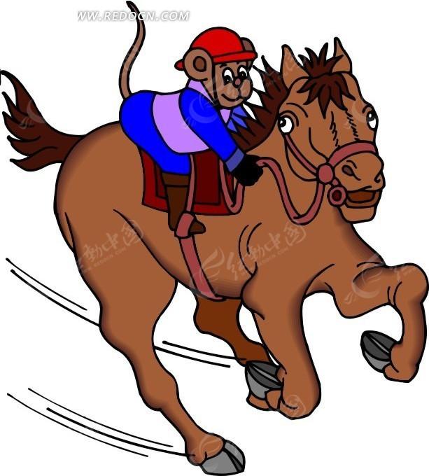 骑马 猴子 马 卡通画 插画 手绘 矢量素材 动物图片 卡通形象 动物
