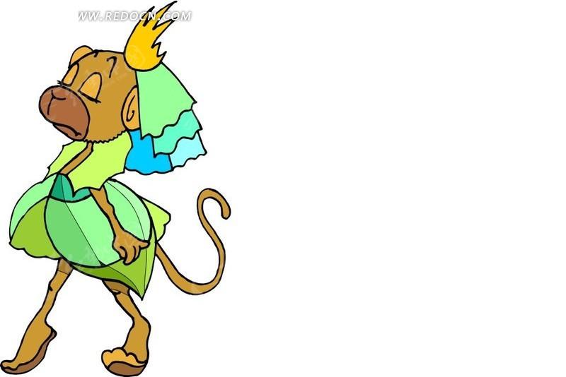 猴子 卡通画 插画 手绘