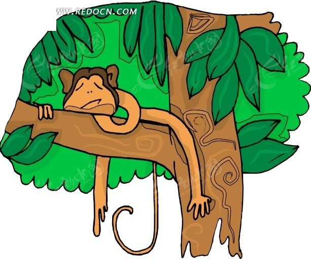 趴在树上 睡觉 树 子猴子 卡通画 插画 手绘 矢量素材 动物图片 卡通