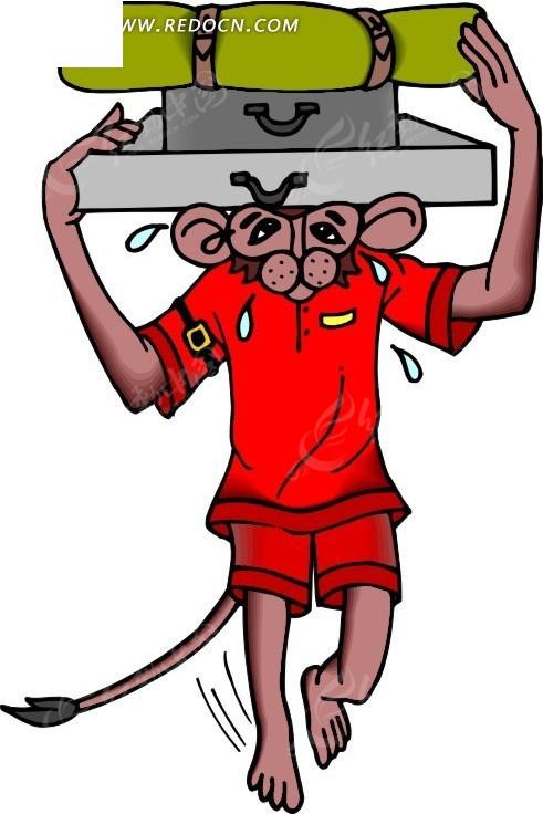 卡通画穿衣服走路的猴子图片