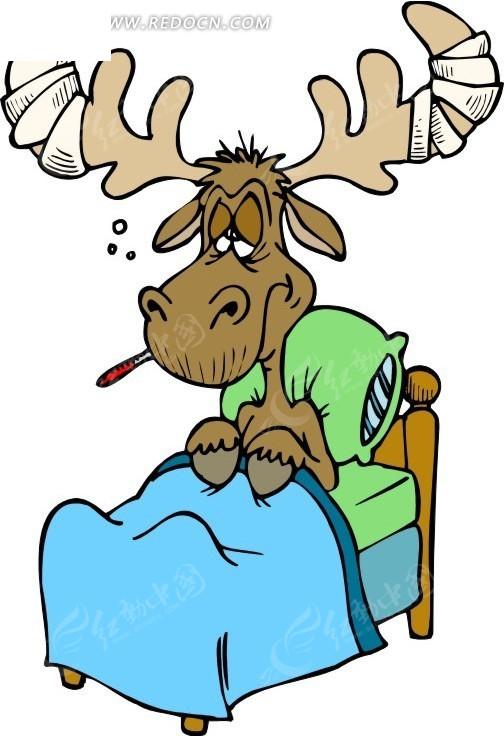 卡通画躺床上的驯鹿