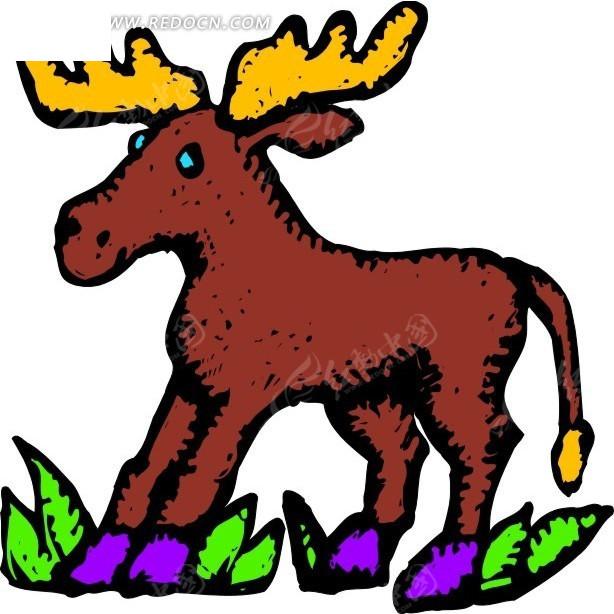 手绘儿童画驯鹿