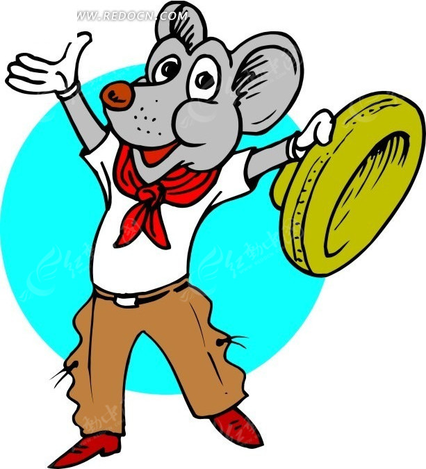 手绘带红领巾的老鼠图片