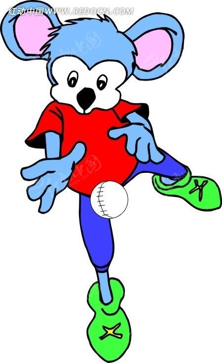 棒球 老鼠 卡通画 插画 手绘 矢量素材 动物图片 卡通形象 动物