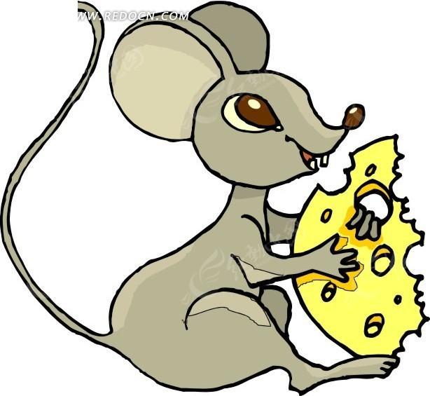 手绘吃奶酪的小老鼠