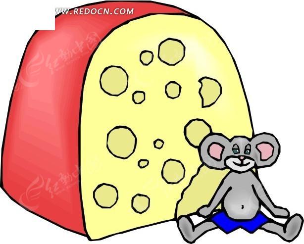 卡通画坐在奶酪边上的老鼠