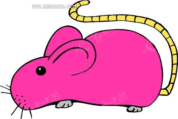 免费素材 矢量素材 生物世界 陆地动物 卡通画一只红色的老鼠  请您