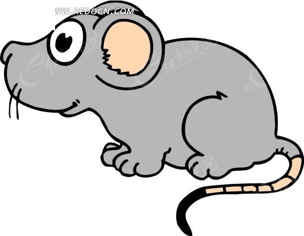 卡通画蹲着的灰色小老鼠