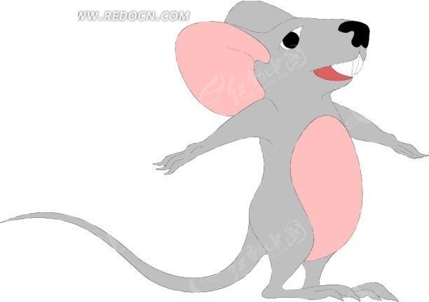 胸上画卡通老鼠_卡通画张开双手的灰色老鼠其他素材免费下载_红动网