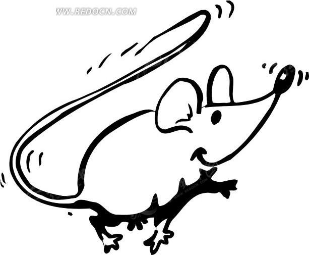 儿童简笔画黑白色的线描老鼠