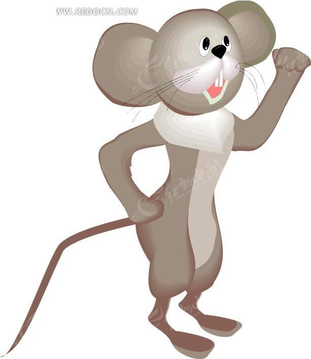 卡通画叉着腰的小老鼠矢量图其他免费下载_陆地动物