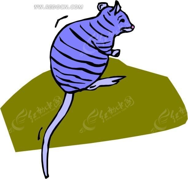 手绘蓝色的小老鼠