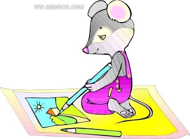 卡通画坐在地上画画的老鼠矢量图