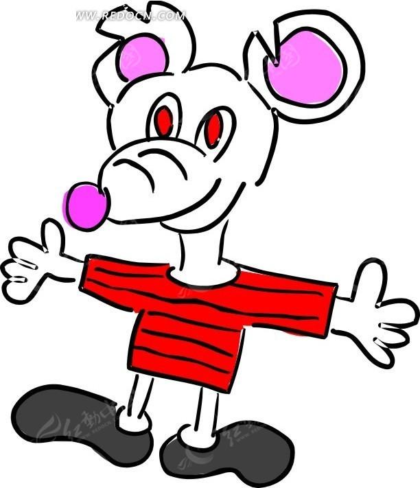儿童绘画穿着红衣服的老鼠其他免费下载