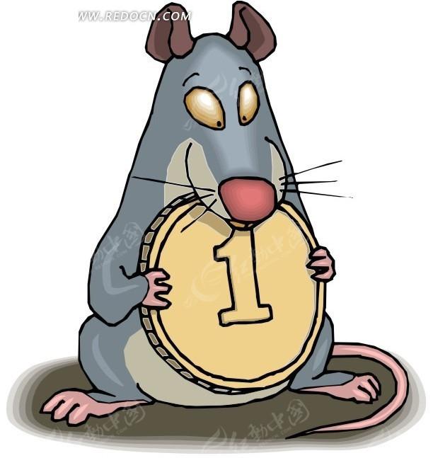 卡通画抱着金币的老鼠