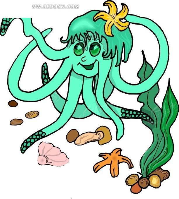 章鱼 卡通动物 卡通画 插画 手绘 矢量素材 动物图片 卡通形象 免费