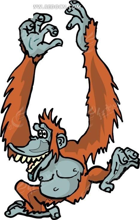 手绘兴奋的大猩猩矢量图_陆地动物