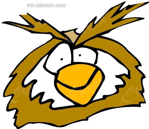 手绘猫头鹰头像矢量素材