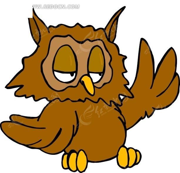 卡通画举着翅膀的小猫头鹰