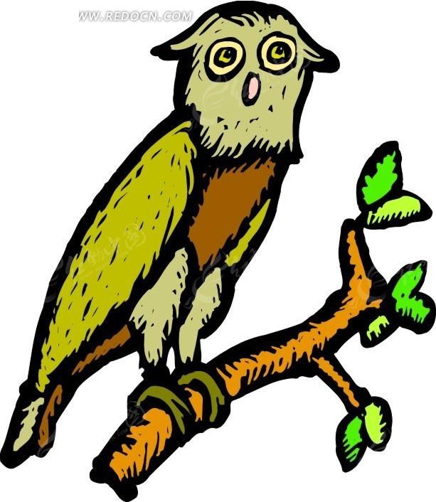 鸟 猫头鹰 卡通动物 卡通画 插画 手绘 矢量素材 动物图片 卡通形象