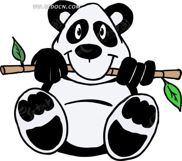 手绘吃竹子的大熊猫
