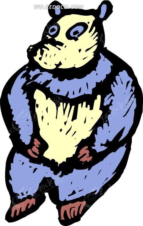 手绘一只蓝色的大熊猫矢量图_陆地动物