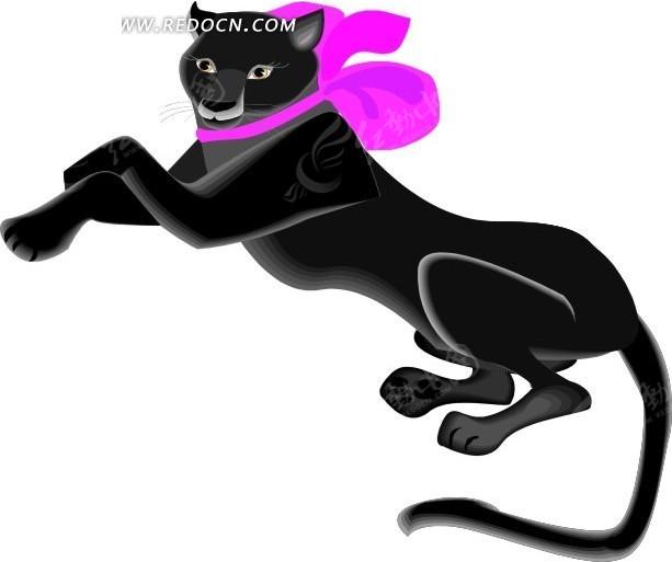 豹子 卡通动物 卡通画 插画 手绘 矢量素材 动物图片 卡通形象 免费
