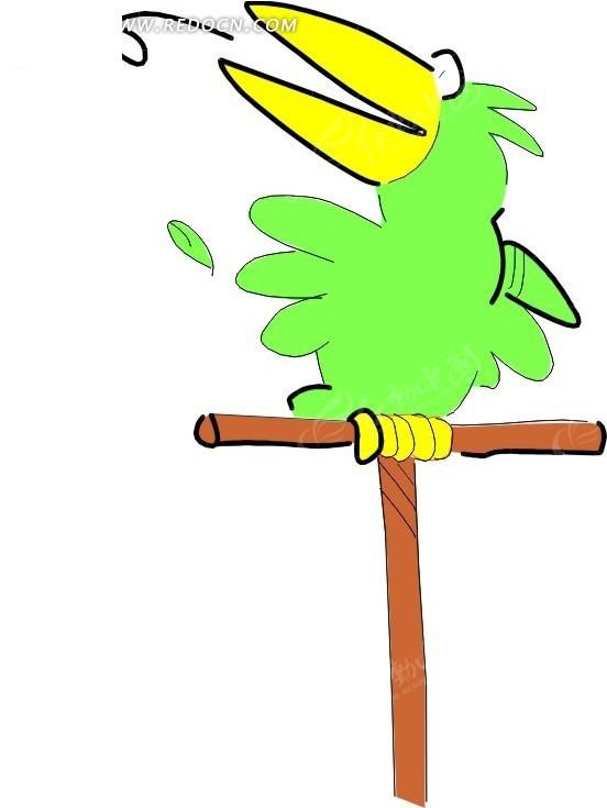 儿童手绘唱歌的鹦鹉