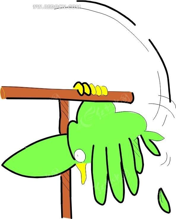 儿童手绘玩耍的绿鹦鹉