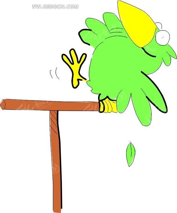 儿童手绘木杆上的绿鹦鹉