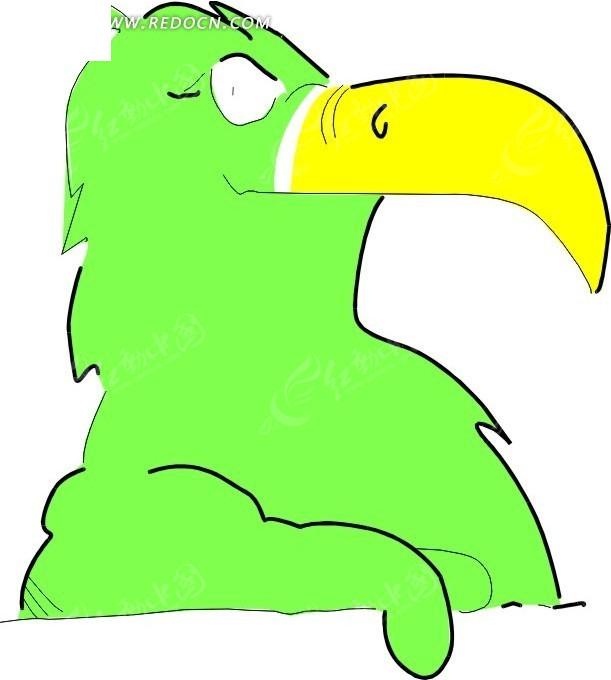 儿童手绘绿色的小鹦鹉
