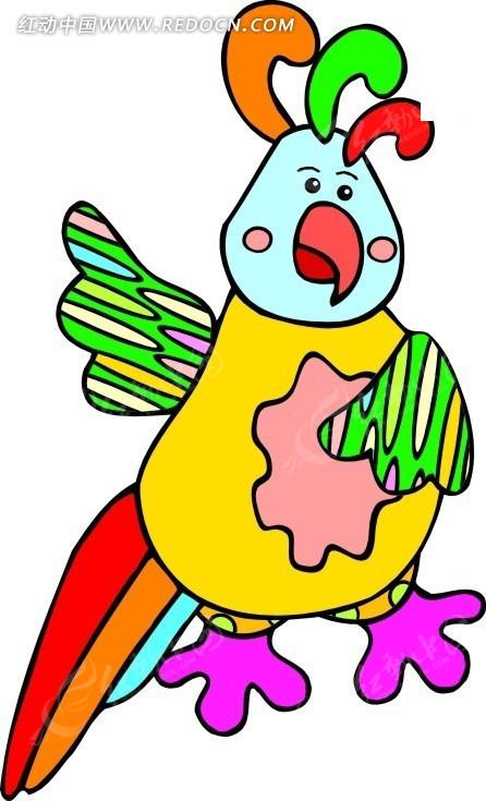 卡通画彩色尾羽的小鹦鹉