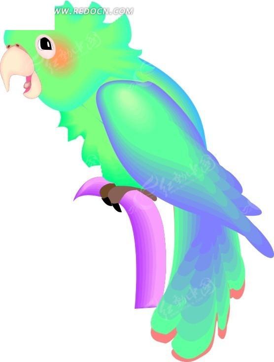 手绘一只彩色鹦鹉