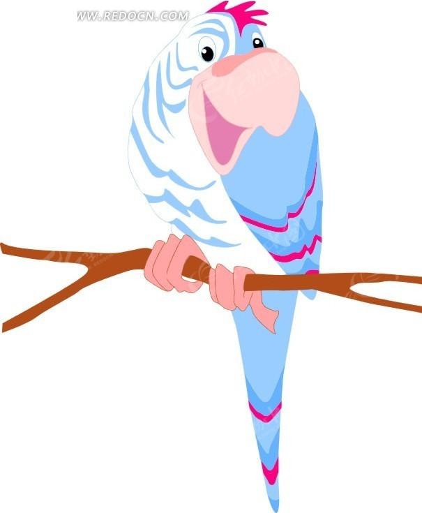 手绘树枝上站着的鹦鹉