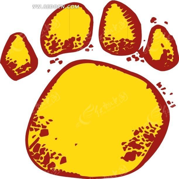 手绘黄色动物脚印矢量素材