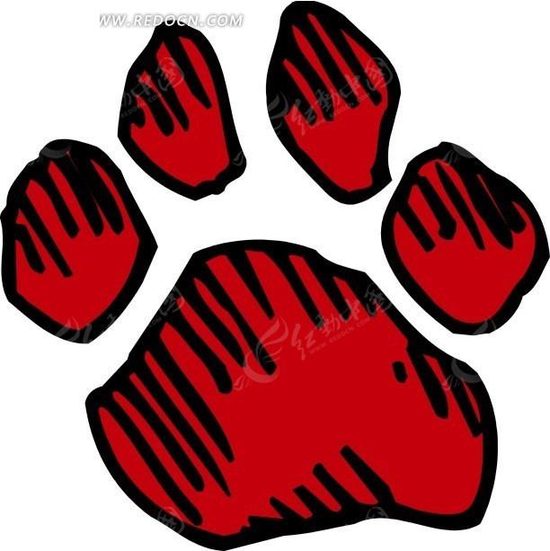 手绘红色动物脚印矢量素材