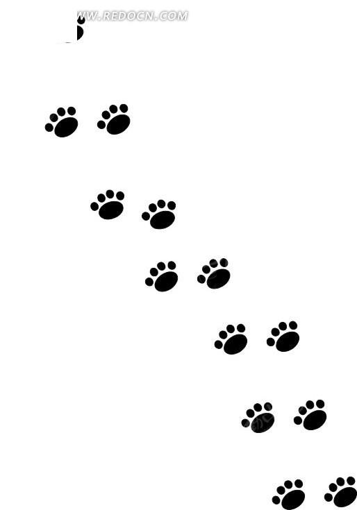 手绘黑色动物脚印矢量素材矢量图