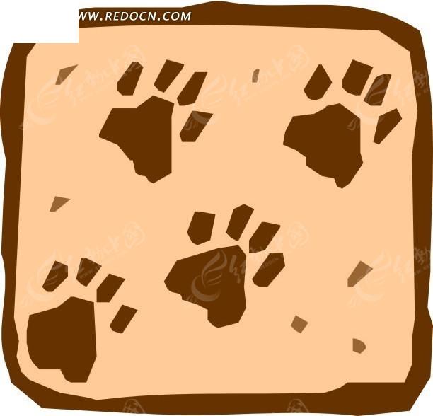 手绘褐色动物脚印图案