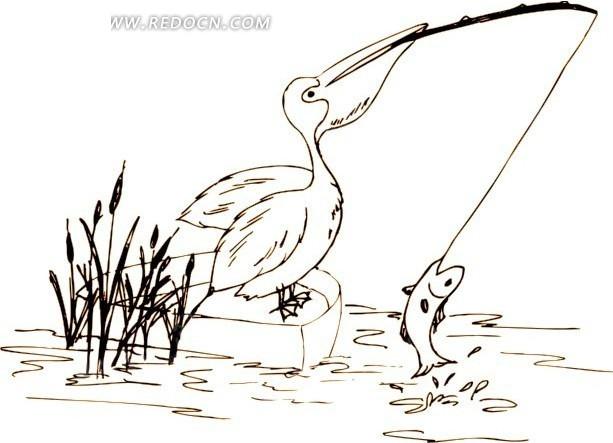 手绘小船上钓鱼的醍醐鸟