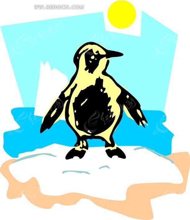 儿童手绘烈日下的小企鹅