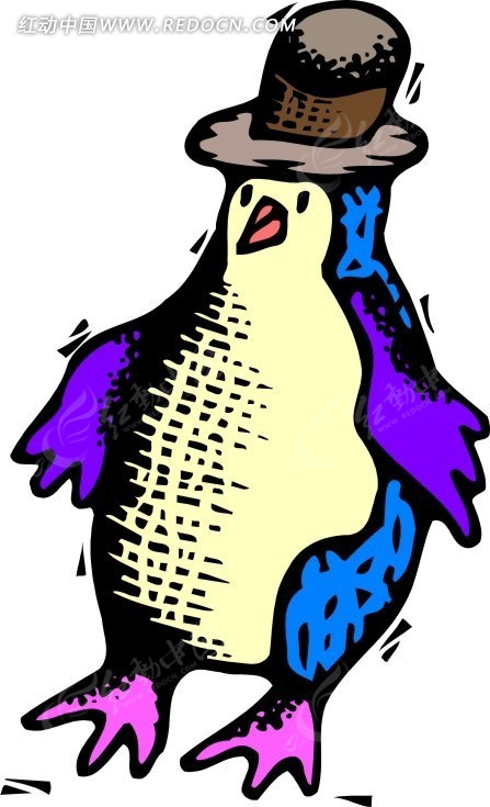戴帽子的企鹅手绘素材