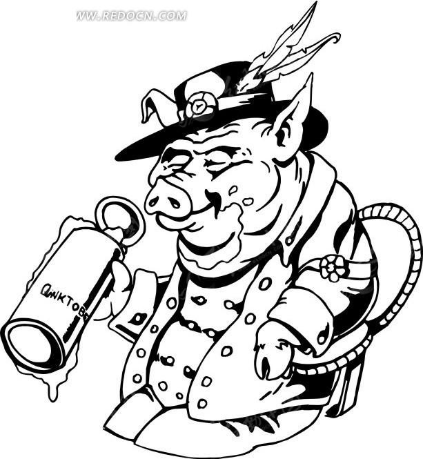 猪 小猪 卡通动物 卡通画 插画 手绘 矢量素材 动物图片 卡通形象