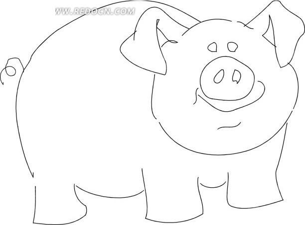 手绘黑色线描小猪